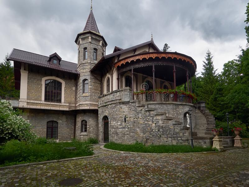 Stirbey Castle in Sinaia, Romania. The Stirbey Castle is the former summer residence of princess Alina Stirbey and General Emanuel Florescu and remains known as royalty free stock images