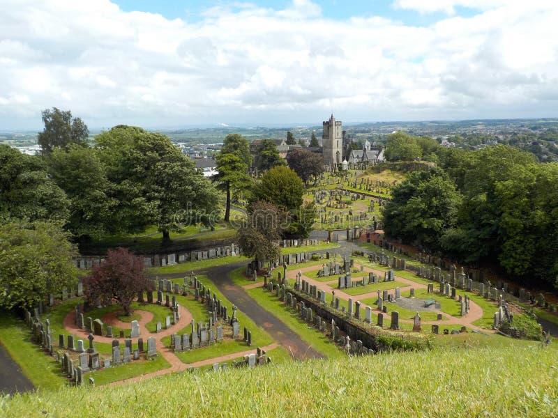 Stirling Castle Cementery, mening vanaf de bovenkant van het kasteel stock foto's