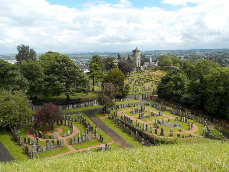 Stirling Castle Cementery, view from the top of the castle. Scotland in summer stock photos