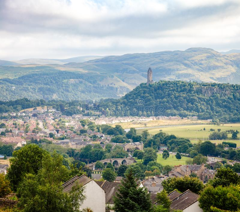 Stirling cityscape with Wallace Monument in background Scotland stock images