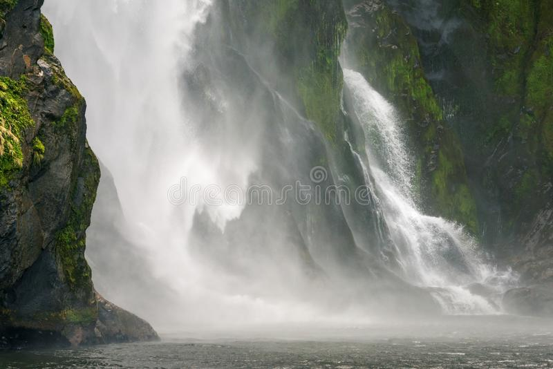 Stirling Falls, Milford Sound Fjord, New Zealand. Close up of the permanent waterfall of Stirling Falls, Milford Sound, New Zealand. One of the Must See New royalty free stock image