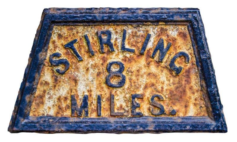 Stirling Mile Marker Sign royaltyfri foto