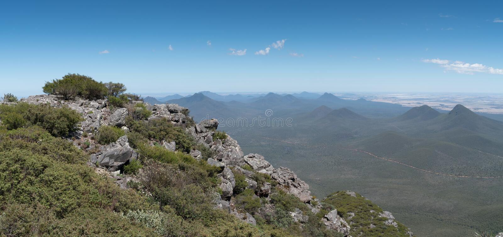 Stirling Range National Park, Western Australia. Panoramic view over the hills of the Stirling Range National Park close to Mount Barker, Western Australia stock photos