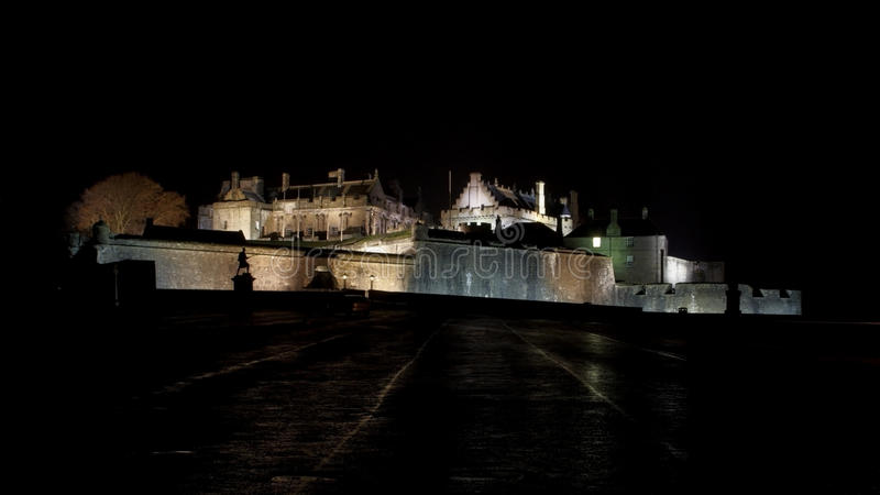 Stirling Castle nachts lizenzfreies stockfoto