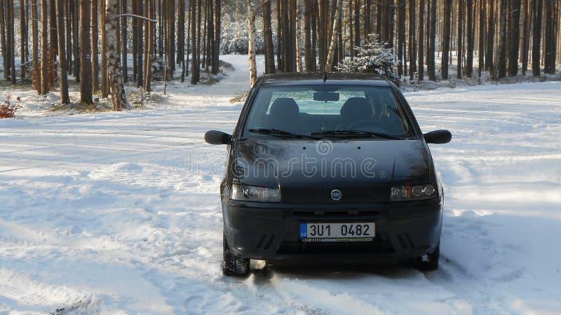 Stirrande Splavy, Tjeckien - December 09, 2012: den svarta bilen Fiat Punto II parkerade på en snöig skogväg under vinterturism i arkivfoto