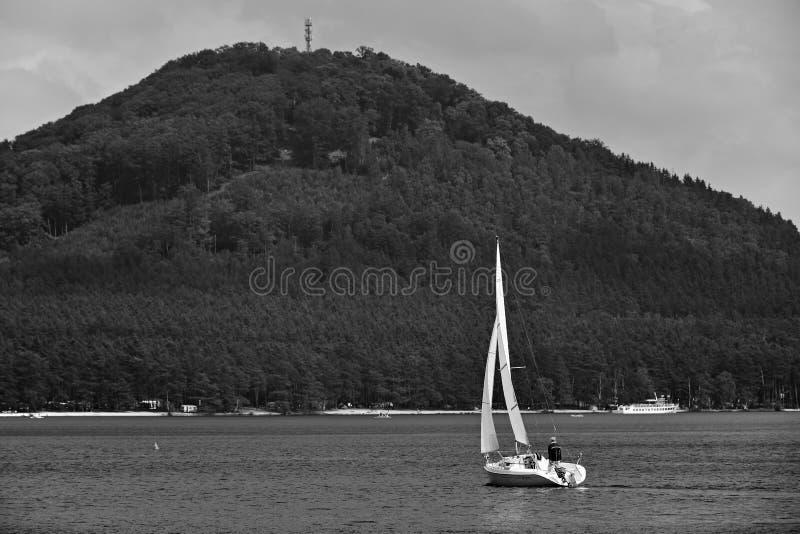 Stirrande Splavy, Tjeckien - Maj 19, 2018: vitt sailling fartyg med en man på den Machovo jezerosjön med den Borny kullen på bakg arkivfoto