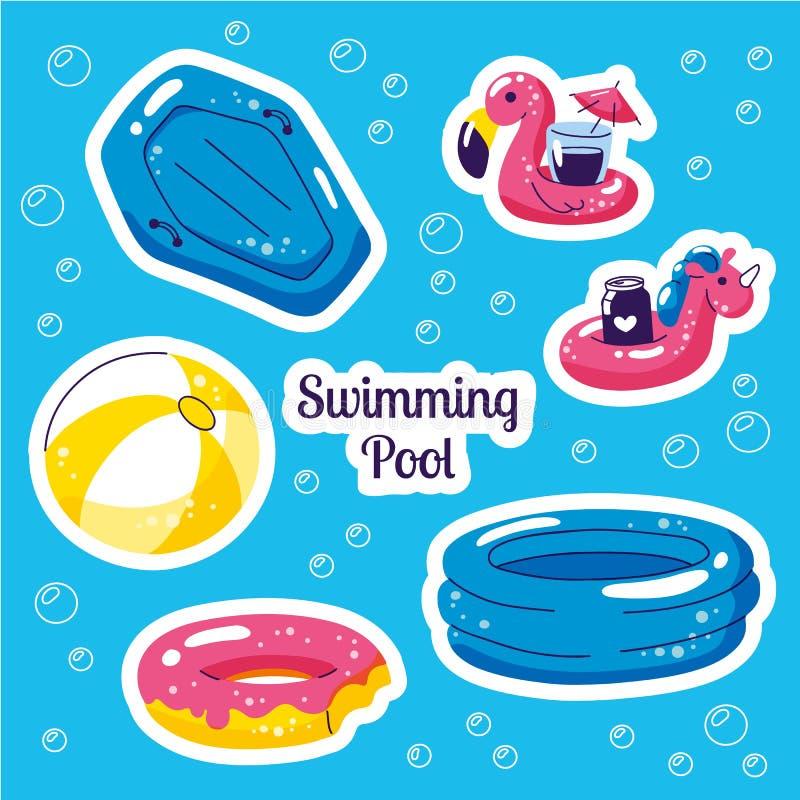 Stiskers inflables del flotador que nadan Flamenco lindo de los juguetes del agua, bola, flotadores del unicornio Etiquetas engom libre illustration