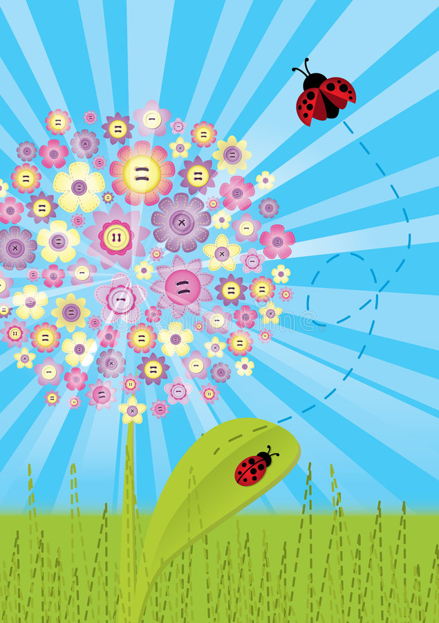 Download Stitch - Flower With Ladybugs Stock Vector - Illustration: 6056360