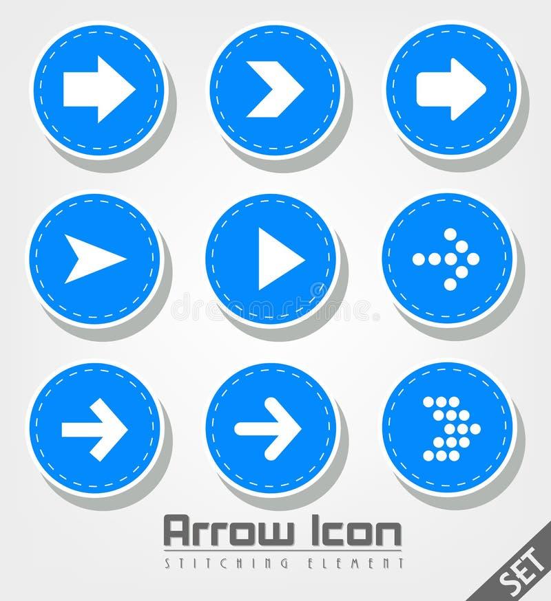 Stitched Arrow Icon Flat Design stock illustration