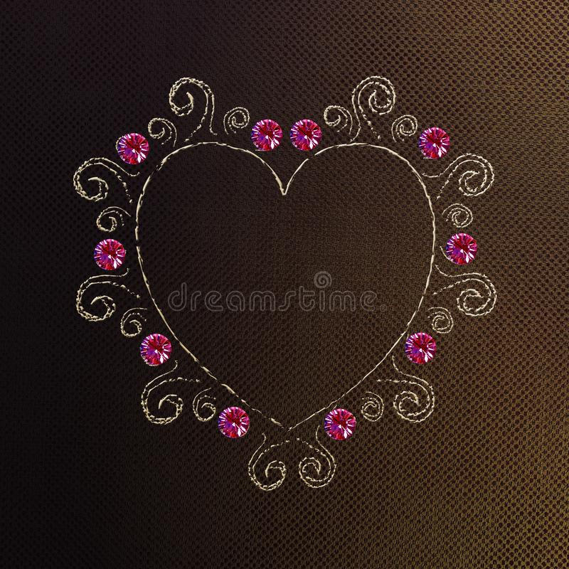 Stitched heart on material for fashion design elements stock image
