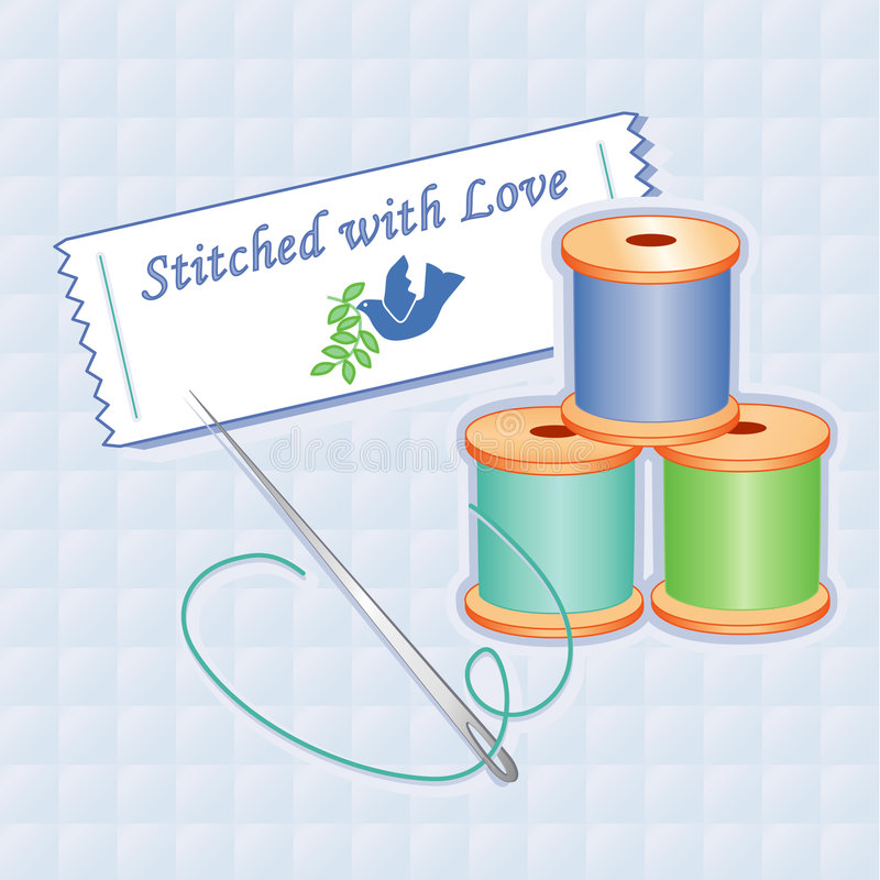 Download Stitched with Love stock vector. Image of metal, cloth - 5912256