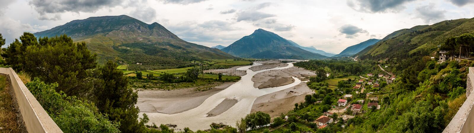 Stitched panorama of Mat river or Lumi, Albania royalty free stock photography