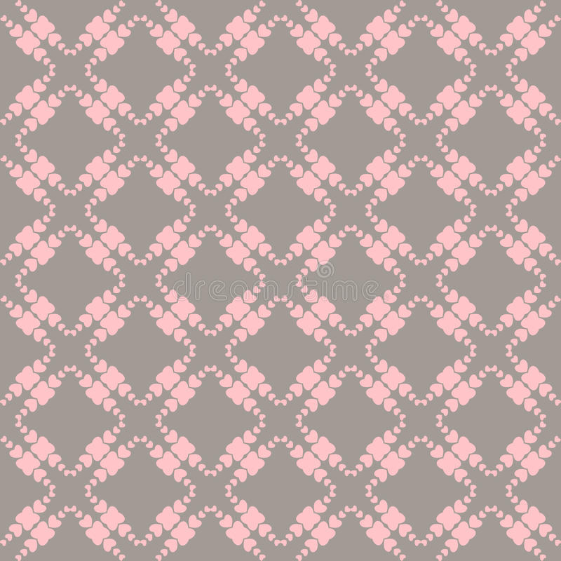Stitched seamless pattern with hearts. vector illustration