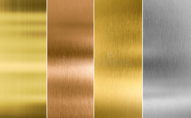 Stitched silver, gold and bronze metal texture stock image