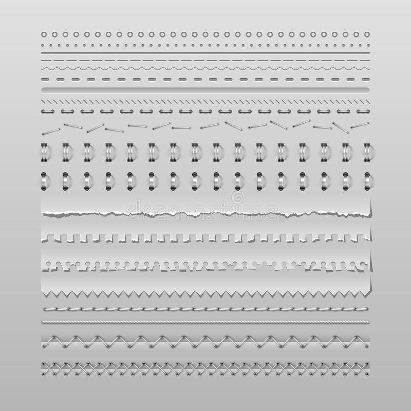 Stitches and dividers. Design elements vector set of high detailed stitches and dividers royalty free illustration