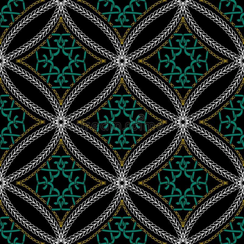 Stitching geometric ornamental vector seamless pattern. Knitting vector illustration