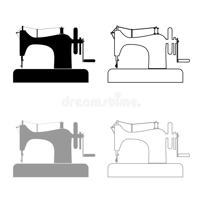 Stitching machine Sewing machine Tailor equipment vintage icon outline set black grey color vector illustration flat style image. Stitching machine Sewing vector illustration