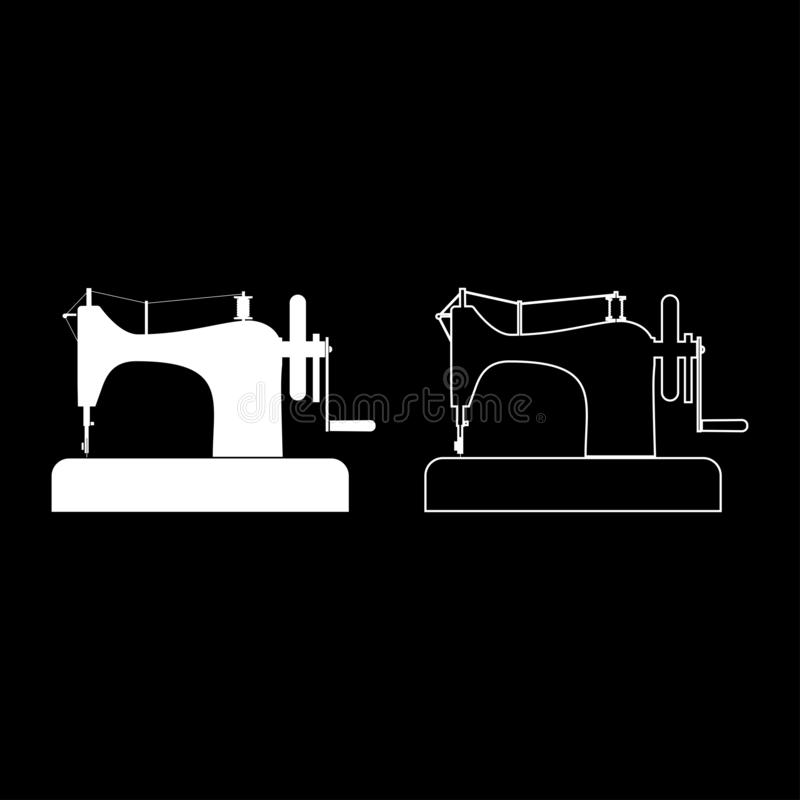 Stitching machine Sewing machine Tailor equipment vintage icon outline set white color vector illustration flat style image. Stitching machine Sewing machine royalty free illustration