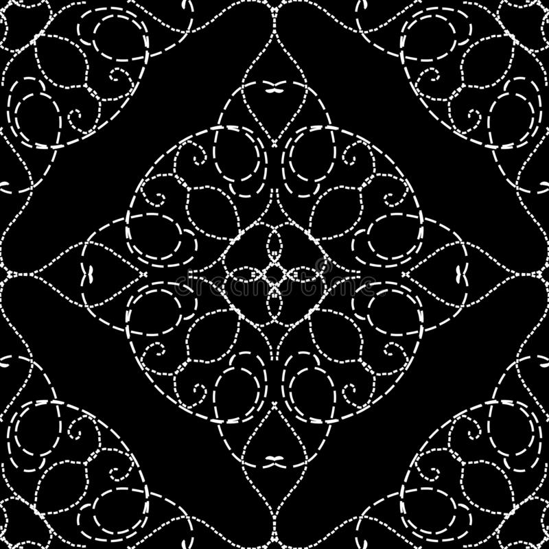 Stitching style vintage arabesque vector seamless pattern. Black and white embroidery Damask background. Line art tracery floral. Stitch ornament. Embroidered stock illustration
