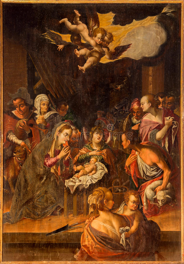 Stitnik - Nativity scene on the wood from renaissance-baroque main altar of gothic evangelical church in Stitnik by Hans von stock photos