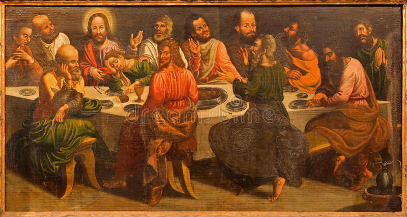 Stitnik - smärta av den sista kvällsmålet av Jesus på trät från det huvudsakliga altaret av den gotiska evangelikala kyrkan i Stit royaltyfri foto