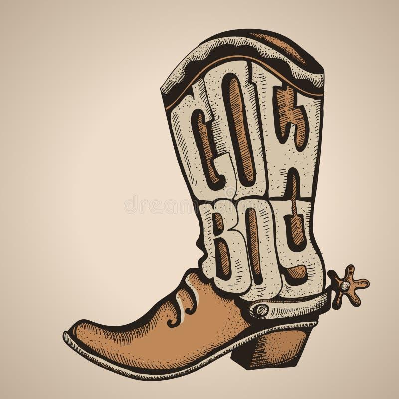 Stivale di cowboy Progettazione del nemico dell'illustrazione di vettore illustrazione di stock