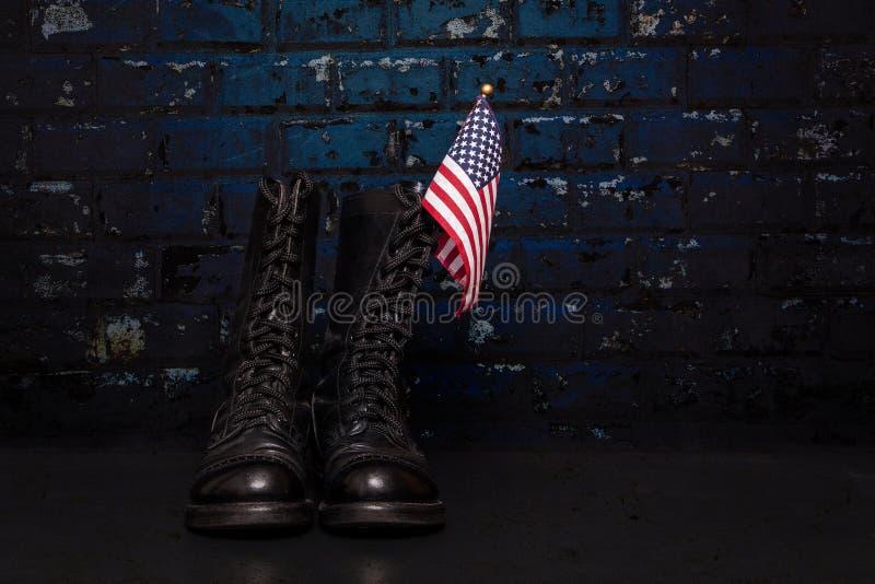 Stivali con la bandiera fotografia stock