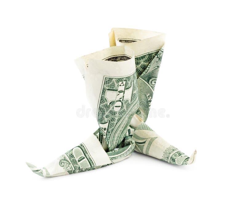 Stivali del dollaro isolati su fondo bianco fotografia stock
