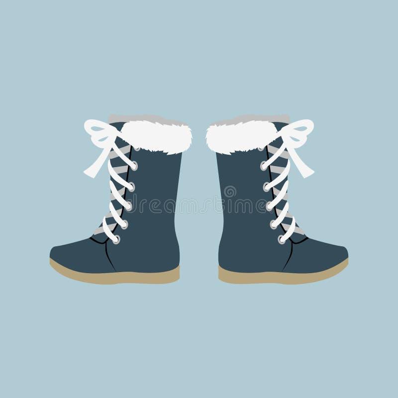 Stivali del feltro delle scarpe di inverno illustrazione vettoriale
