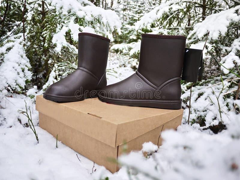 Stivali del ugg delle donne Dettagli, primo piano, tempo di inverno e stivali caldi immagini stock