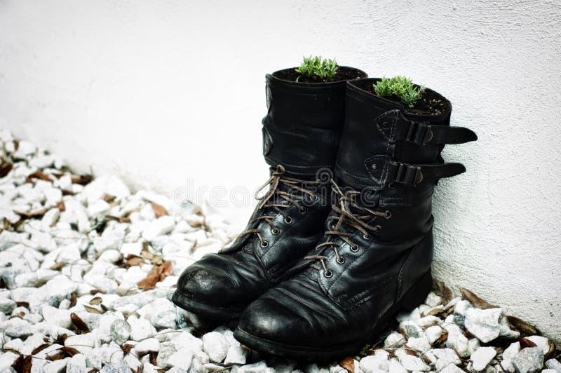 Stivali dell'esercito come piantatrici immagine stock libera da diritti