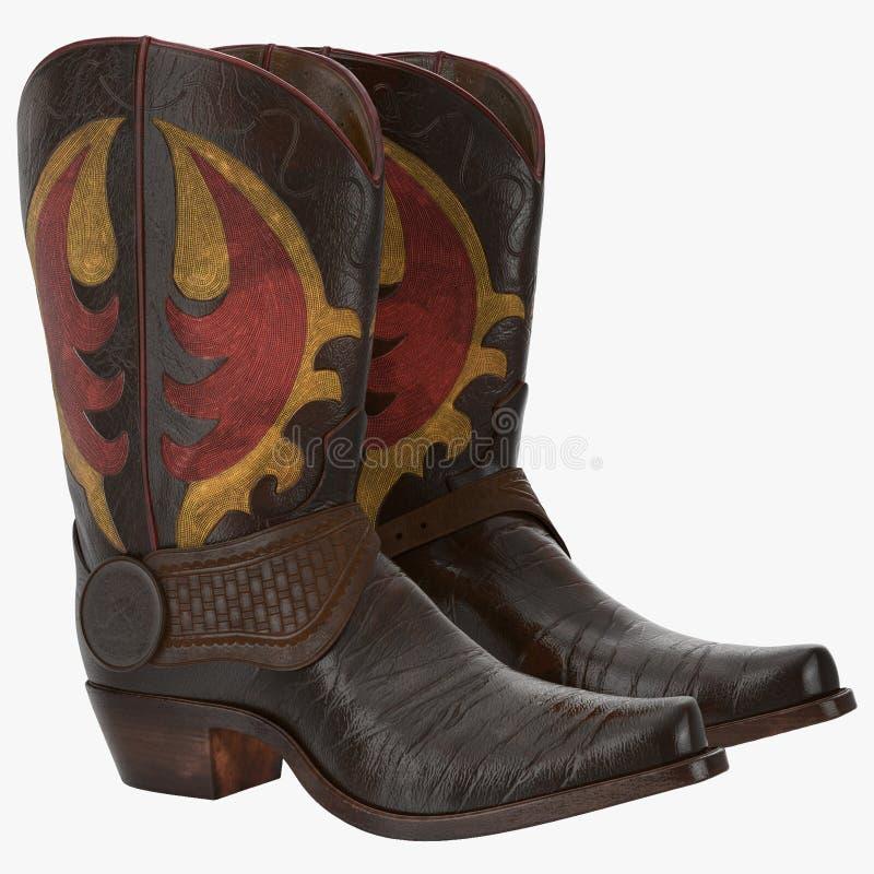 Stivali di cowboy di cuoio ad ovest selvaggi con i denti cilindrici isolati sull'illustrazione bianca 3d immagine stock libera da diritti
