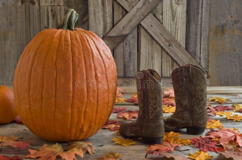 Stivali di cowboy di un bambino e della zucca con le foglie di caduta sul portico del paese immagine stock libera da diritti