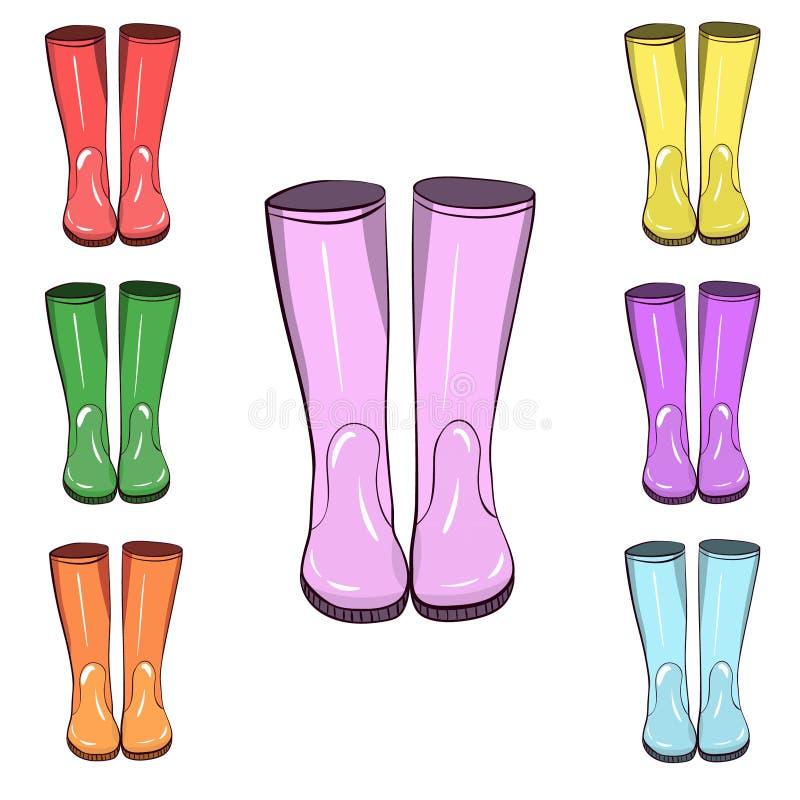Stivali di gomma, gumboots Protegga dall'acqua e dal terreno sudicio illustrazione vettoriale