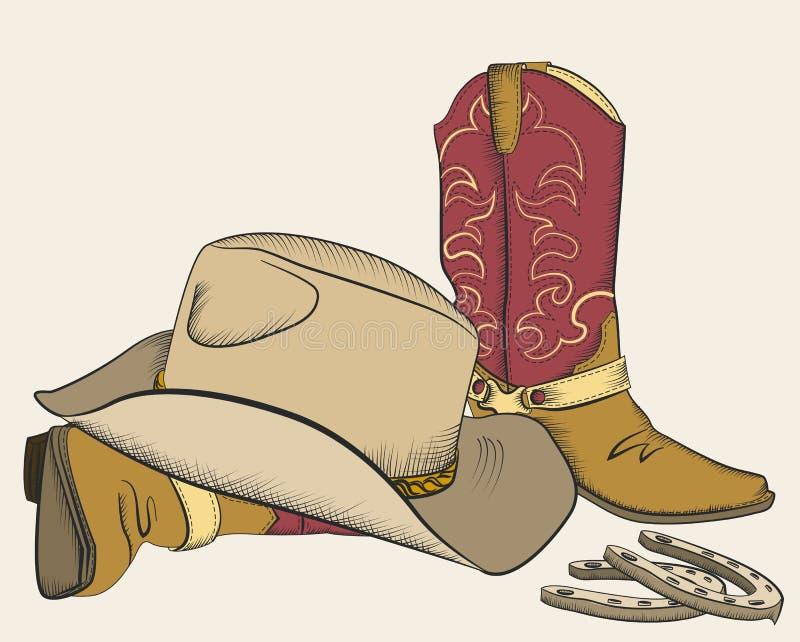 Stivali e cappello di cowboy per il disegno. illustrazione di stock