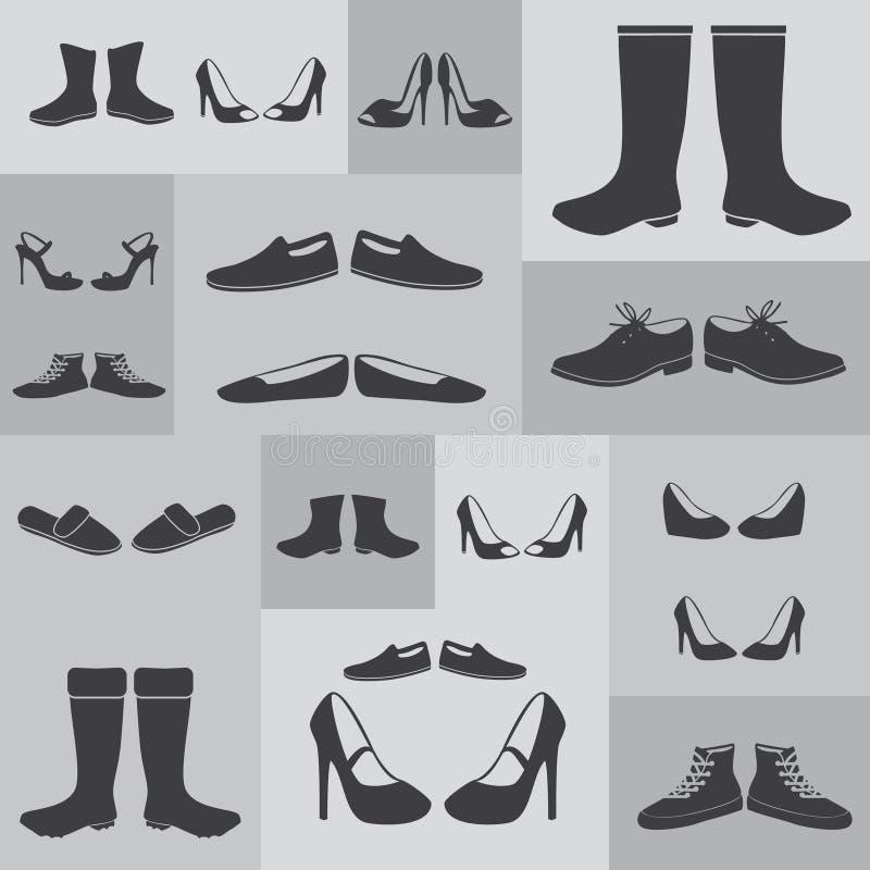 Stivali e scarpe neri su fondo grigio illustrazione di stock