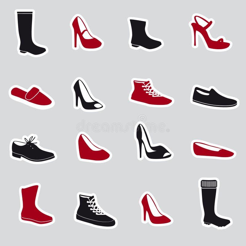 Stivali ed autoadesivi eps10 delle scarpe illustrazione di stock