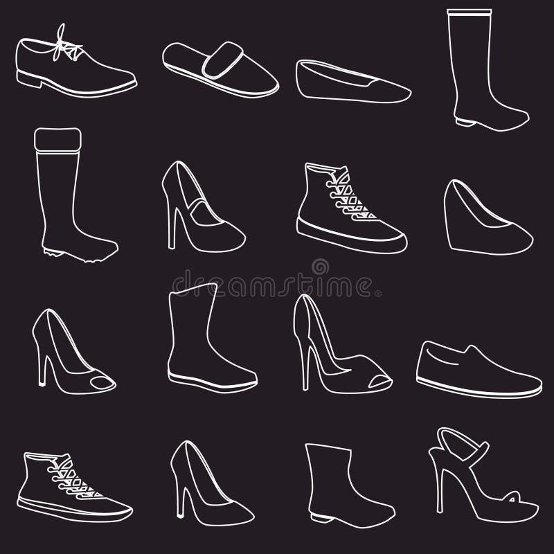 Stivali ed icone bianche del profilo delle scarpe messe illustrazione di stock