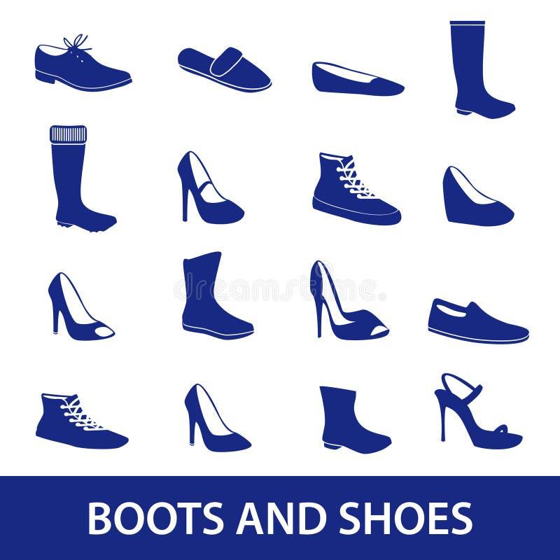 Stivali ed icone eps10 delle scarpe royalty illustrazione gratis