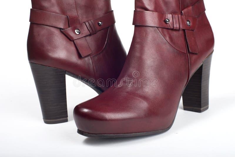 Stivali femminili rossi fotografie stock libere da diritti