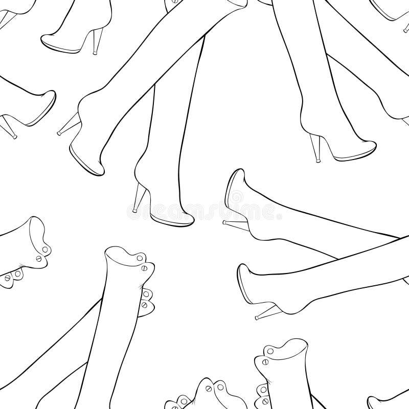 Stivali a tacco alto del modello senza cuciture per le donne Vettore Illustratio illustrazione vettoriale