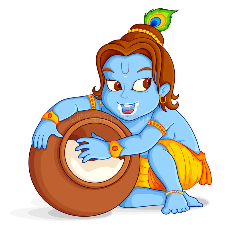 Stjäla för Lord som Krishna är makhaan vektor illustrationer