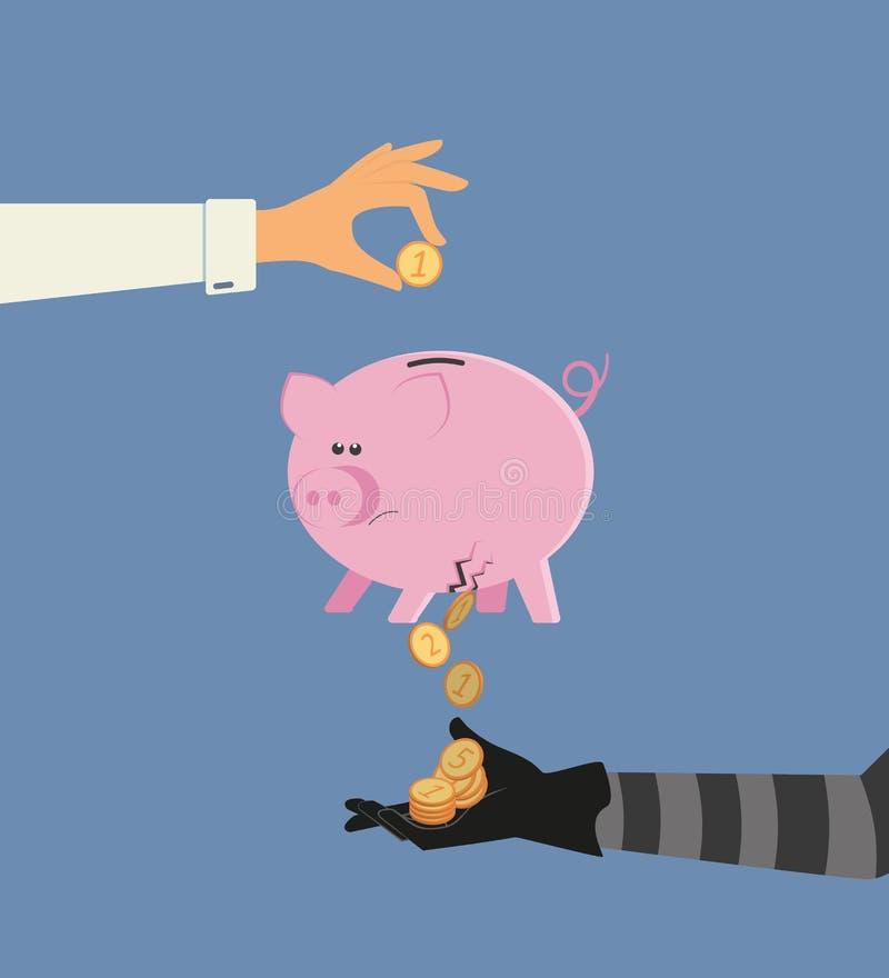 Stjäla för pengar stock illustrationer
