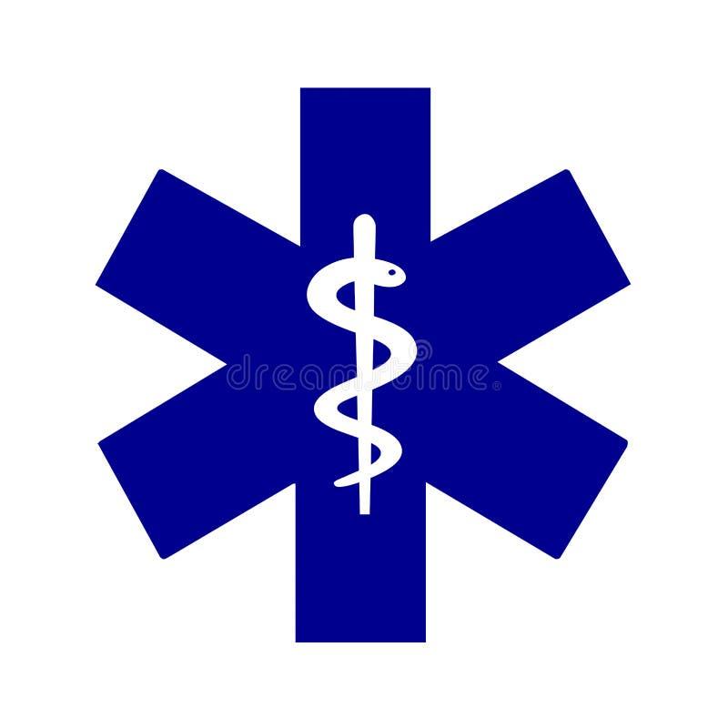 Stjärna av det medicinska symbolet för liv stock illustrationer