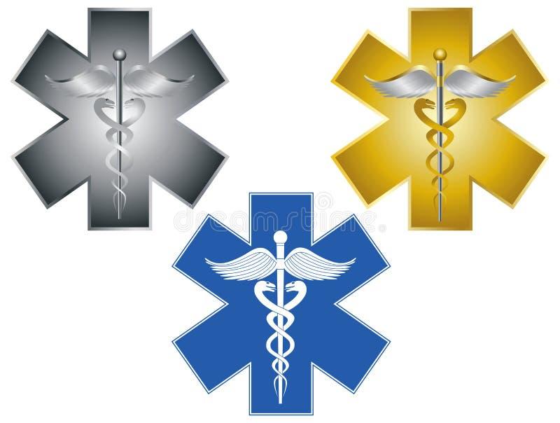 Stjärna av illustrationen för symbol för livCaduceus den medicinska stock illustrationer