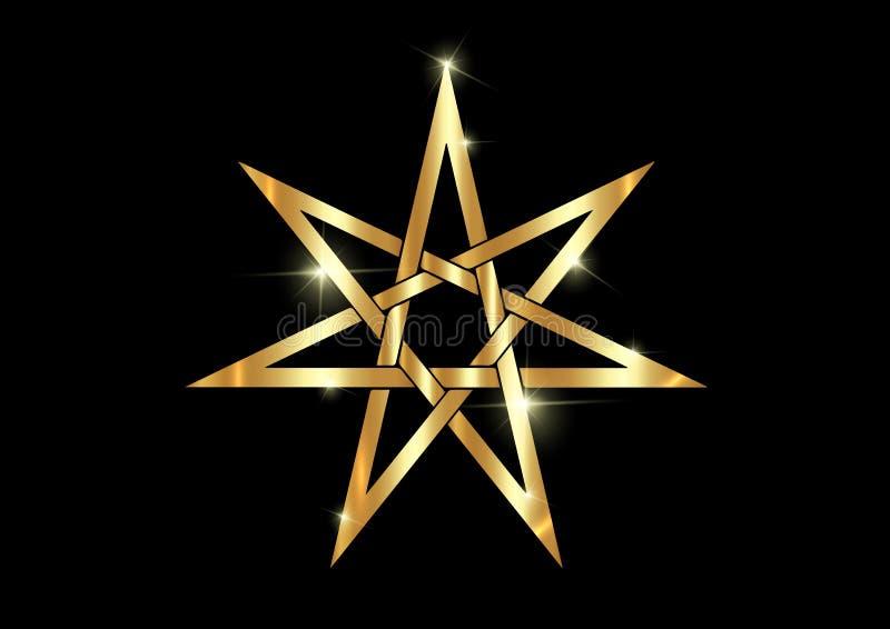 Stjärna eller septagram för sju punkt som är bekanta som heptagram Guld- guld- Elven eller felikt magisk eller wiccan häxerihepta royaltyfri illustrationer