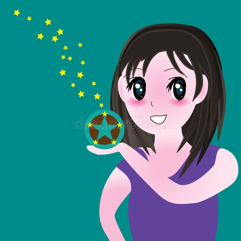 Stjärna för flickamangaenergi vektor illustrationer