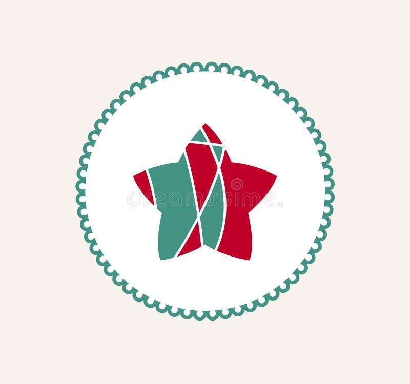 Stjärna för glad jul för tappning retro etikettsstil bakgrunds- och färgbroschyr royaltyfri illustrationer