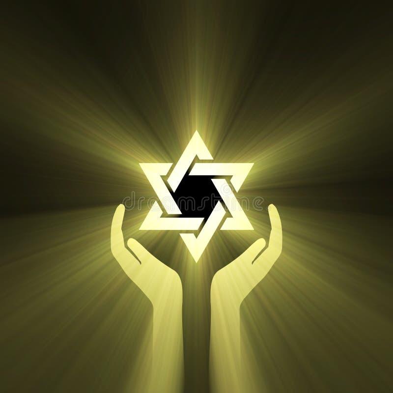 stjärna för lampa för david signalljushand stock illustrationer