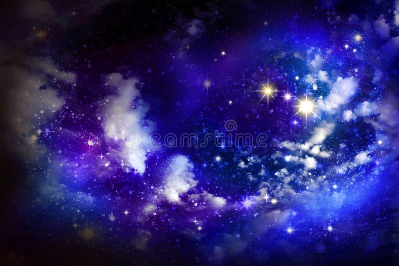stjärna för natt för julfractalbild vektor illustrationer